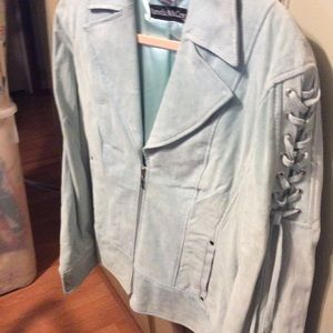 Suede leather jacket with laced arm detail NWT